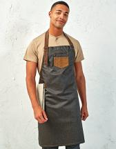 Division Waxed Look Denim Bib Apron With Faux Leather